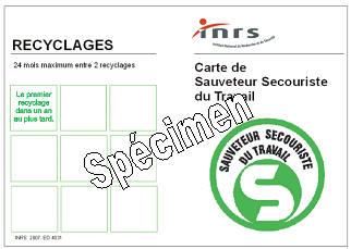 Formation SST - Carte de Sauveteur Secouriste du Travail reçu à la fin de la formation.
